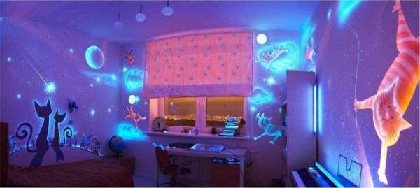 Флуоресцентные фотообои в детской