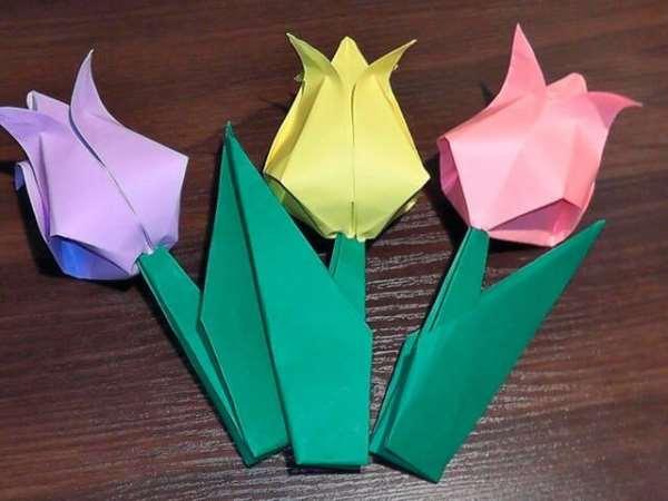 Как сделать оригами: тюльпаны, лотосы