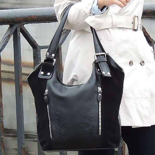 Женская кожаная сумка   солидный аксессуар