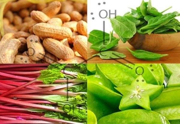 Список продуктов, которые содержат щавелевую кислоту